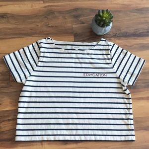 Madewell Navy & Ivory Stripe Staycation T-Shirt